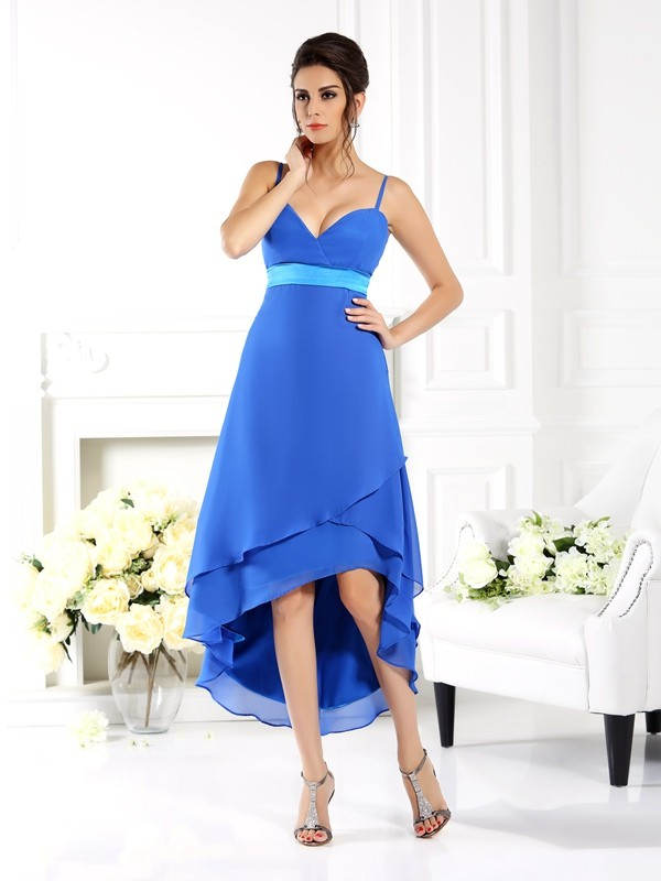 Charming A-Line Spaghetti Straps Sleeveless High Low Chiffon Bridesmaid Dress