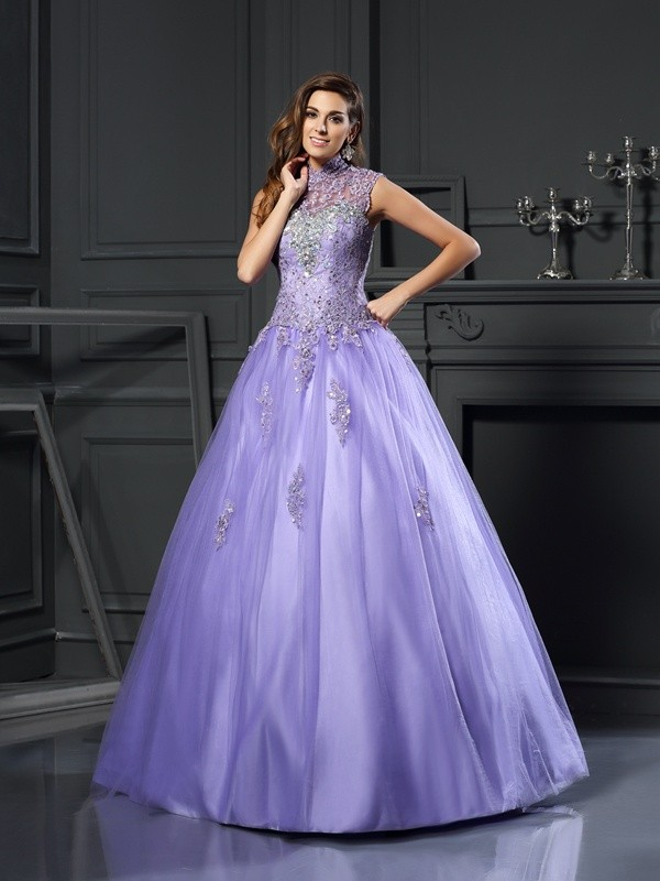 Classical Ball Gown High Neck Sleeveless Long Net Quinceanera Dress