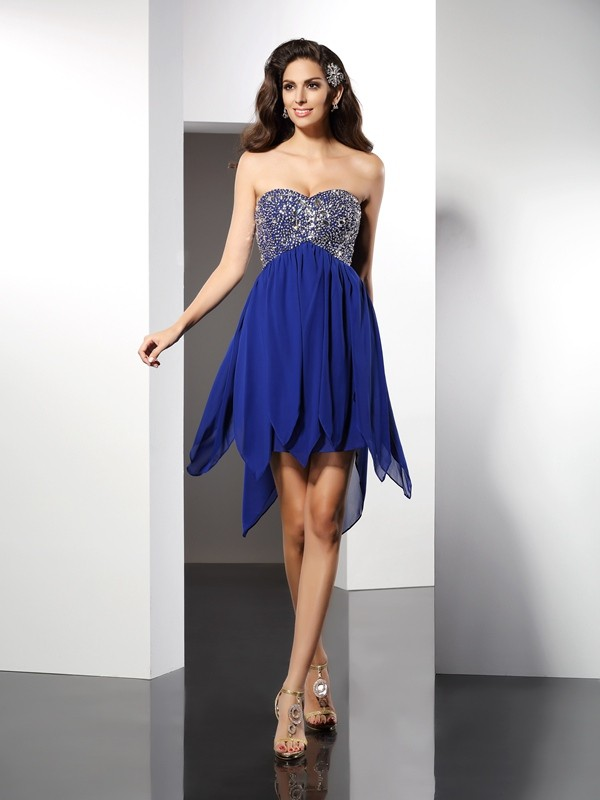 Classical A-Line Sweetheart Sleeveless Short Chiffon Cocktail Dress