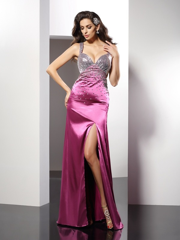 Classical A-Line Straps Sleeveless Long Elastic Woven Satin Dress