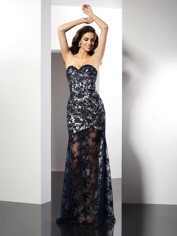 Classical Sheath Sweetheart Lace Sleeveless Long Satin Dress