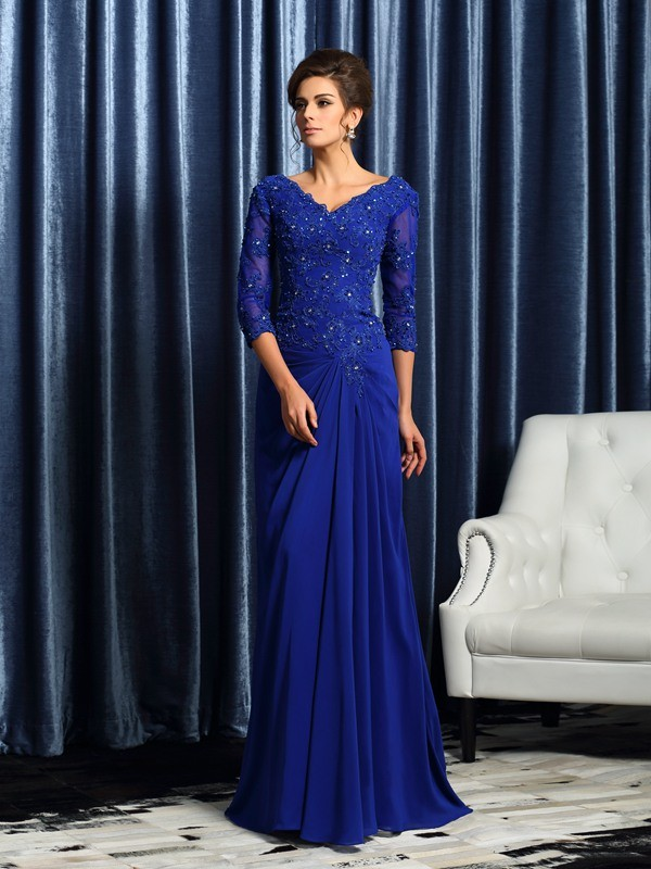 Classical A-Line V-neck 3/4 Sleeves Long Chiffon Mother of the Bride Dress