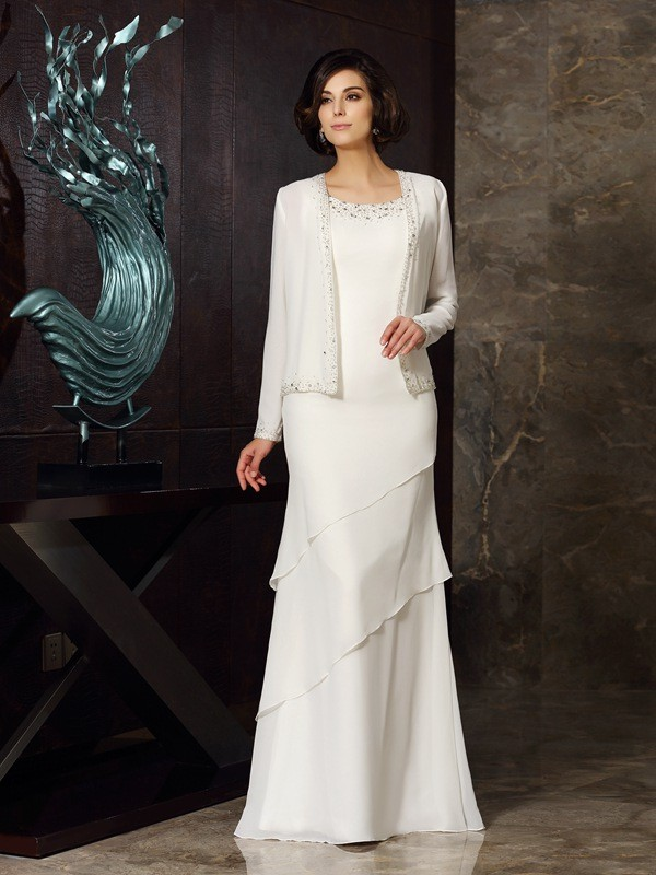 Classical Sheath Scoop Sleeveless Long Chiffon Mother of the Bride Dress