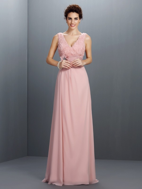 Fancy A-Line V-neck Sleeveless Long Chiffon Dress