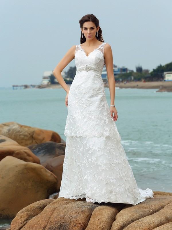 Gorgeous A-Line Straps Sleeveless Long Satin Beach Wedding Dress