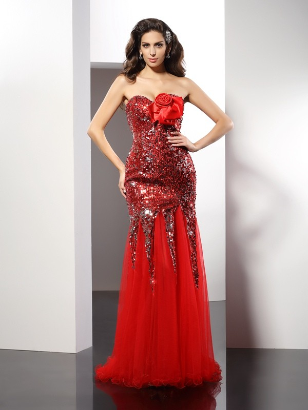Gorgeous Sheath Sweetheart Sequin Sleeveless Long Elastic Woven Satin Dress