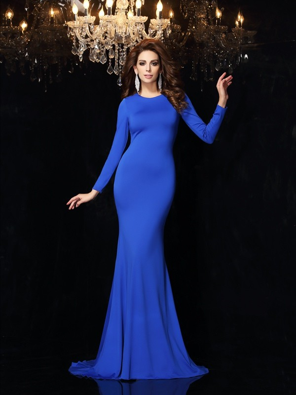 Unique Mermaid Scoop Long Sleeves Long Spandex Dress