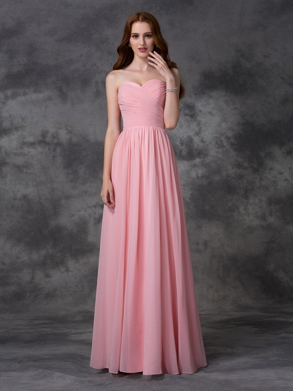 Unique A-Line Sleeveless Sweetheart Long Chiffon Bridesmaid Dress