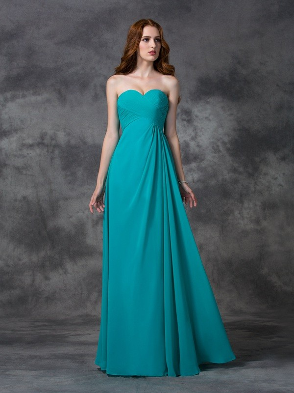 Unique A-Line Sweetheart Sleeveless Long Chiffon Bridesmaid Dress