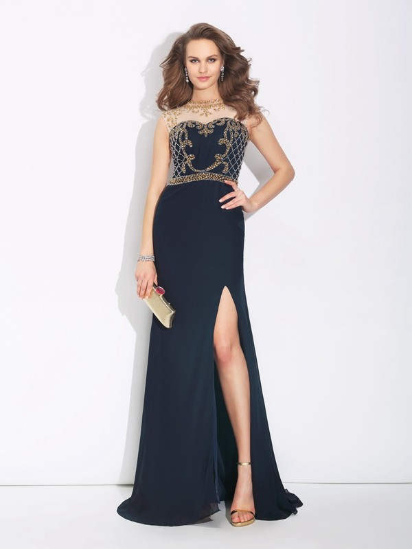 Unique A-Line Jewel Sleeveless Long Chiffon Dress