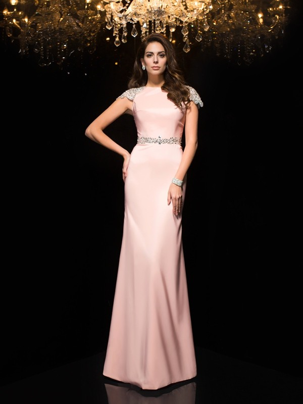 Unique Sheath Jewel Short Sleeves Long Satin Dress