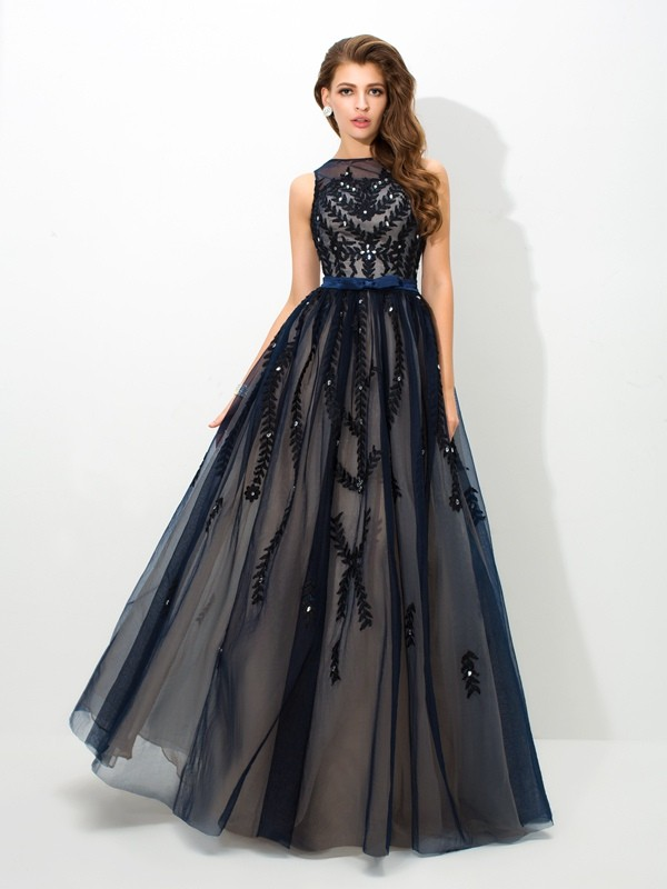 Unique A-Line Sheer Neck Sleeveless Long Tulle Dress
