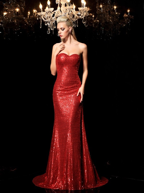 Unique Sheath Sweetheart Sequin Sleeveless Long Sequins Dress