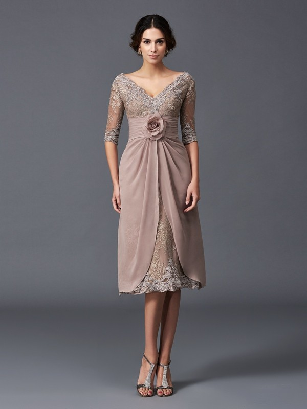 Nice A-Line V-neck 1/2 Sleeves Short Lace Mother of the Bride Dress