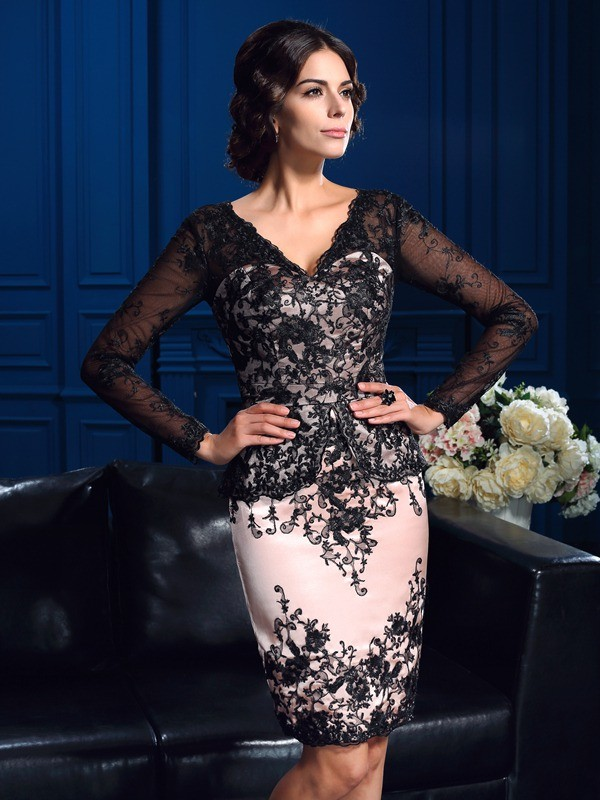 Nice Sheath V-neck Long Sleeves Short Lace Mother of the Bride Dress