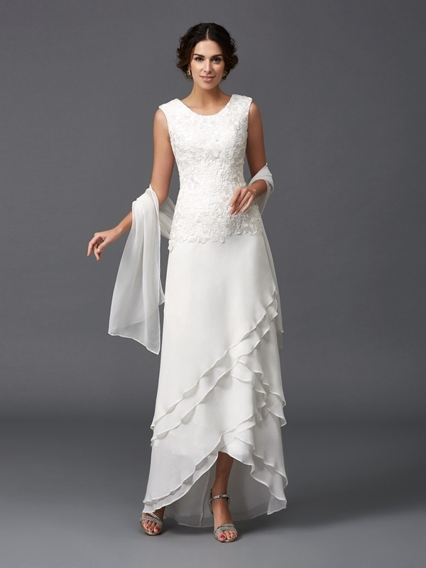 Nice A-Line Scoop Lace Sleeveless Long Chiffon Mother of the Bride Dress