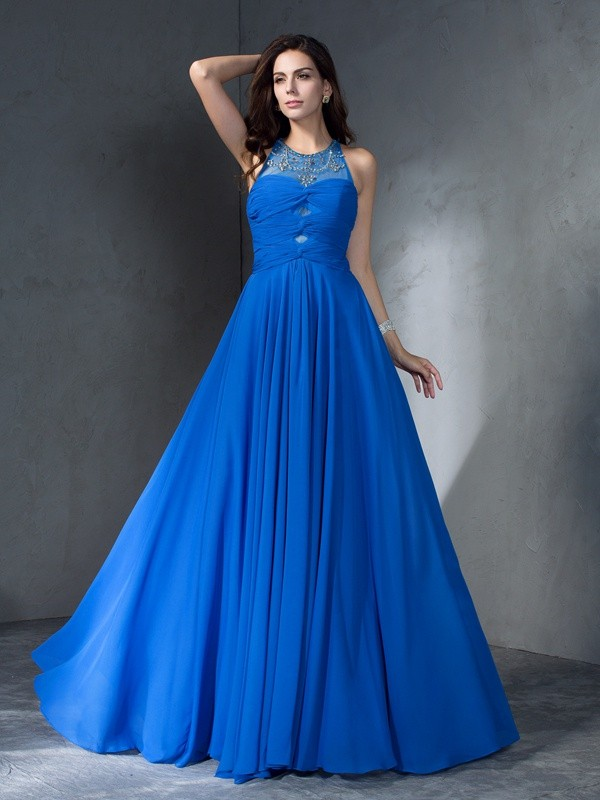 Nice A-Line Scoop Sleeveless Long Chiffon Dress
