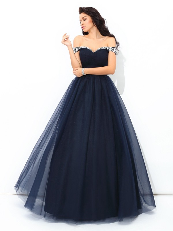 Nice Ball Gown Off-the-Shoulder Sleeveless Long Net Quinceanera Dress