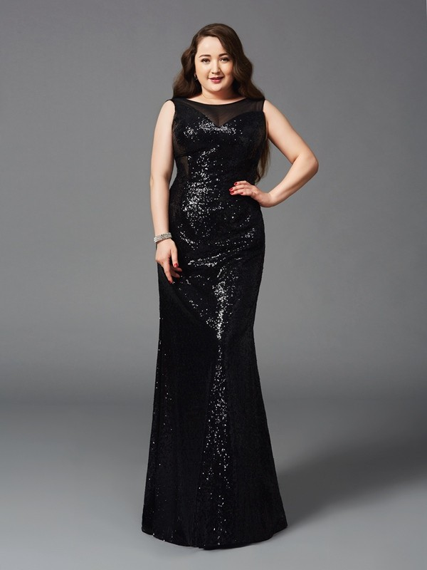 Nice Sheath Scoop Sleeveless Long Sequins Plus Size Dress