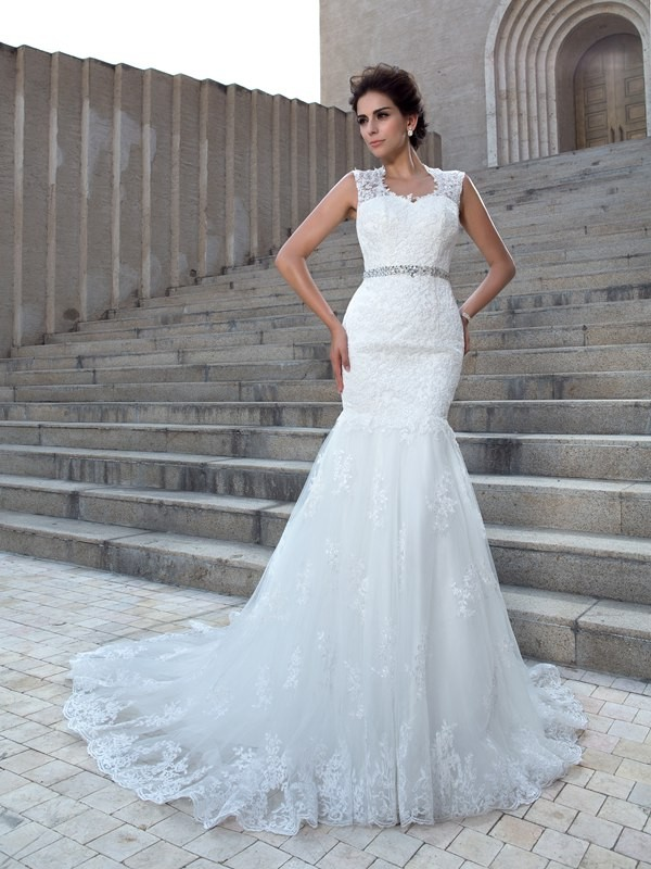 Nice Mermaid V-neck Sleeveless Long Lace Wedding Dress
