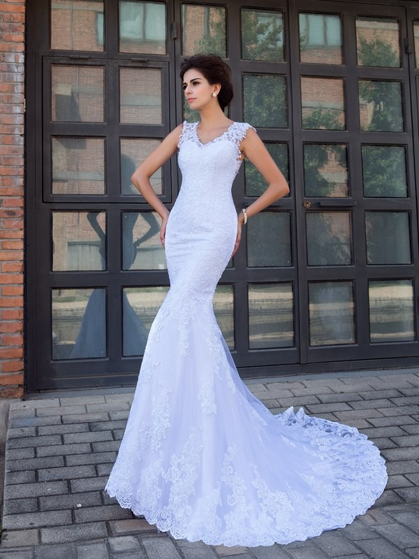 Nice Mermaid V-neck Sleeveless Long Satin Wedding Dress