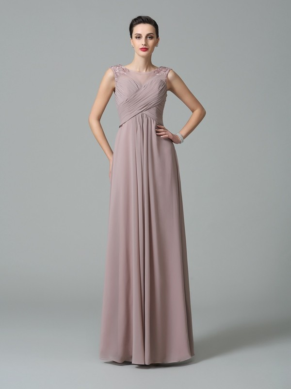 Nice A-Line Scoop Sleeveless Long Chiffon Bridesmaid Dress