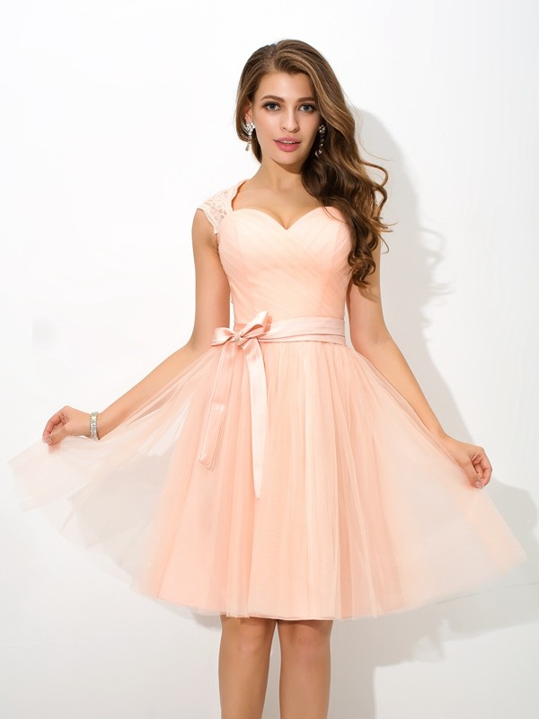 Nice A-Line Straps Sleeveless Short Net Bridesmaid Dress