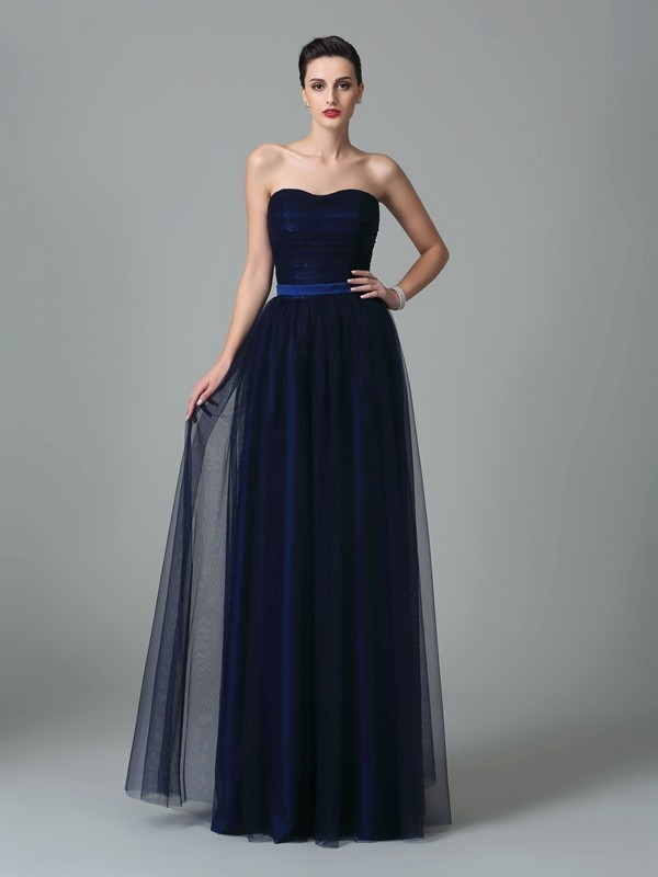 Nice A-Line Sweetheart Sleeveless Long Net Bridesmaid Dress