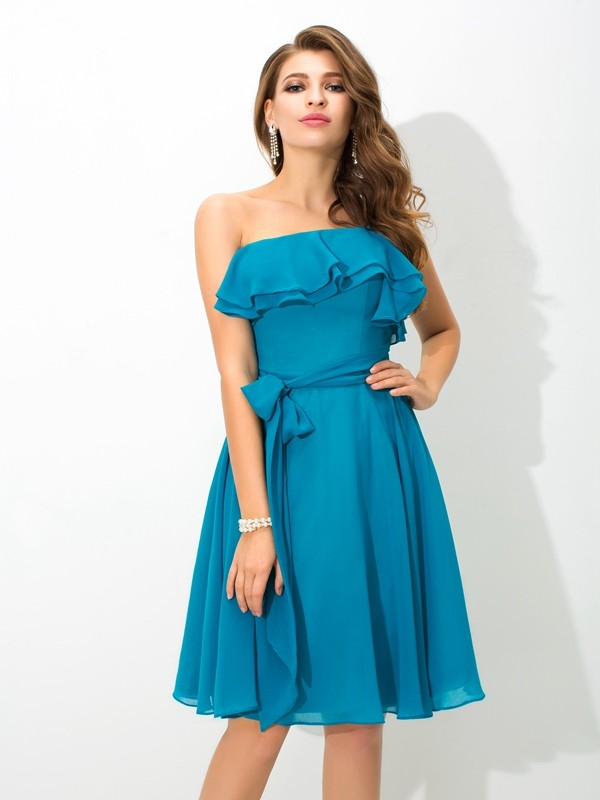 Nice A-Line One-Shoulder Sleeveless Short Silk like Satin Bridesmaid Dress