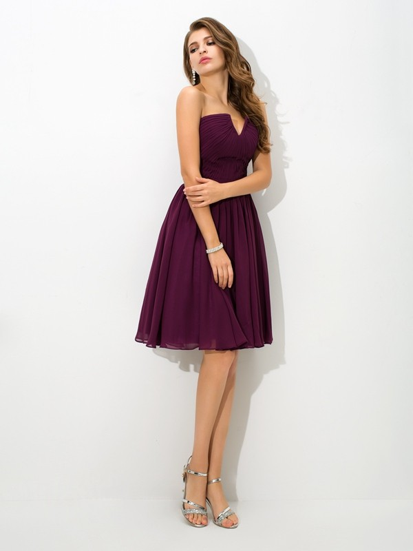 Nice A-Line V-neck Sleeveless Short Chiffon Bridesmaid Dress