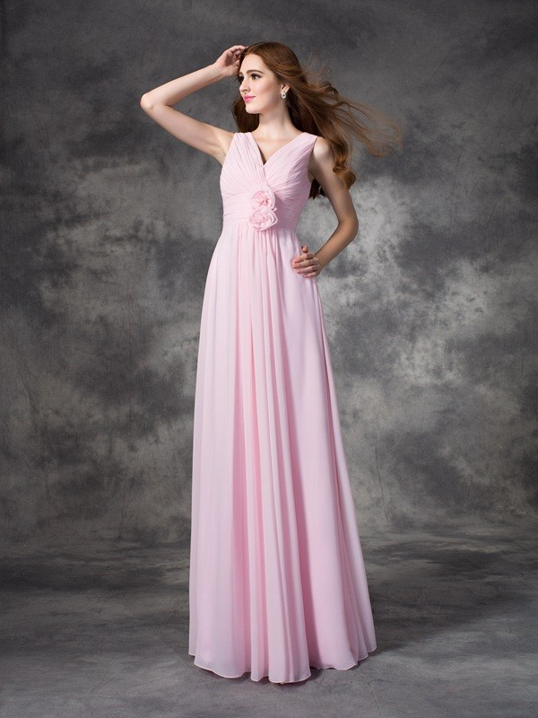 Nice A-Line V-neck Sleeveless Long Chiffon Bridesmaid Dress