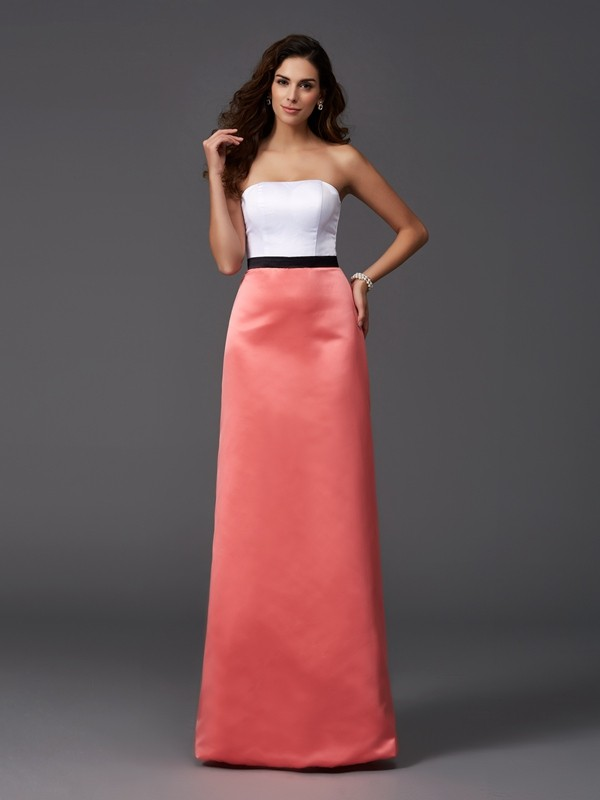 Nice A-Line Strapless Sleeveless Long Satin Bridesmaid Dress