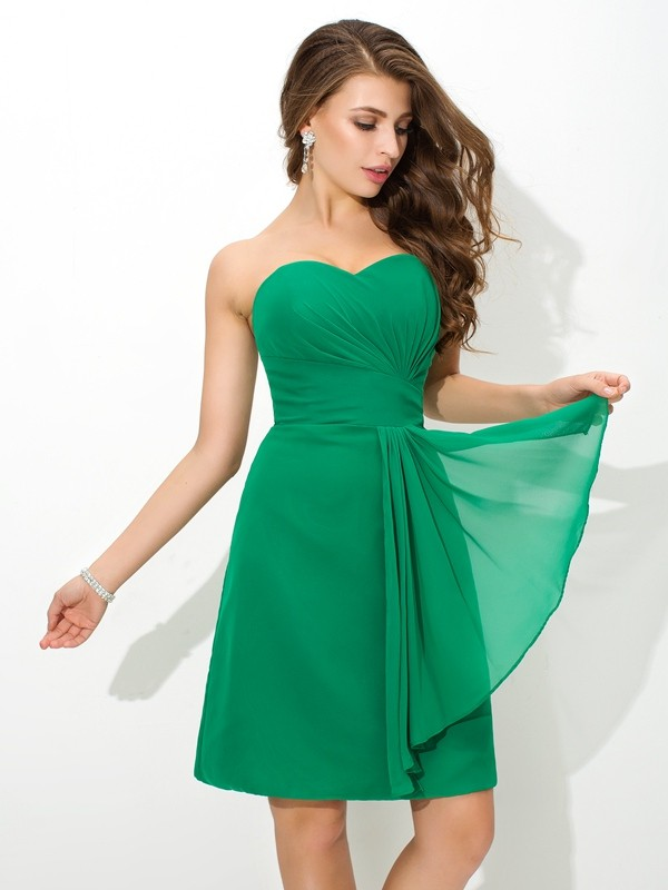 Nice Sheath Sweetheart Sleeveless Short Chiffon Bridesmaid Dress