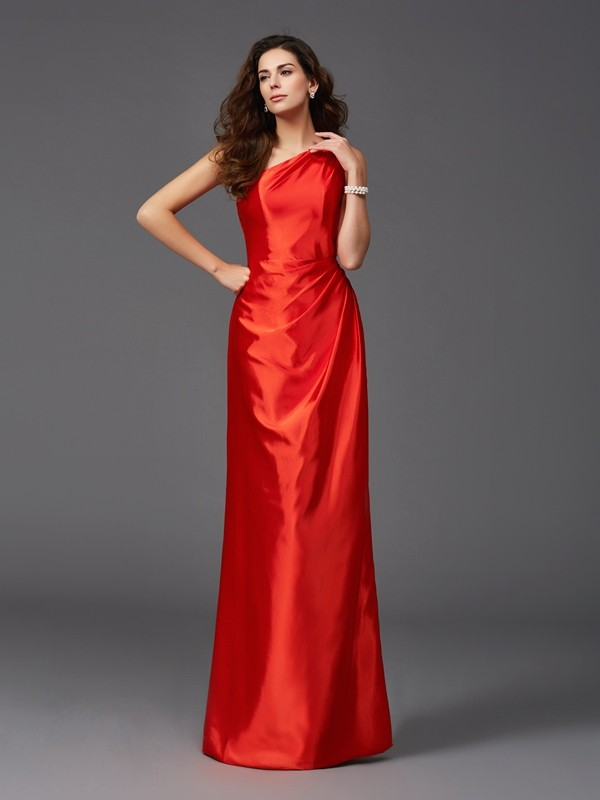 Nice Sheath One-Shoulder Sleeveless Long Elastic Woven Satin Bridesmaid Dress