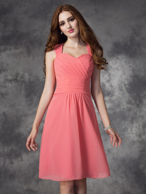 Nice A-Line Straps Sleeveless Short Chiffon Bridesmaid Dress