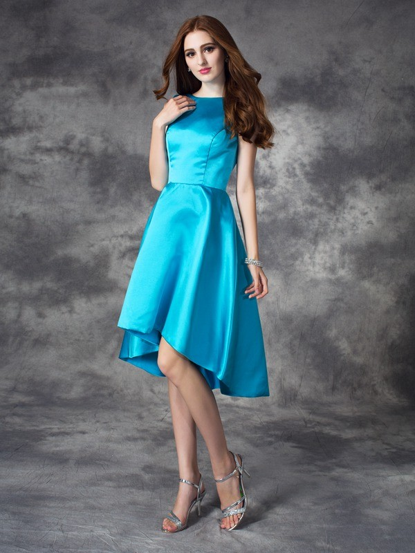 Nice A-Line Bateau Sleeveless High Low Satin Bridesmaid Dress