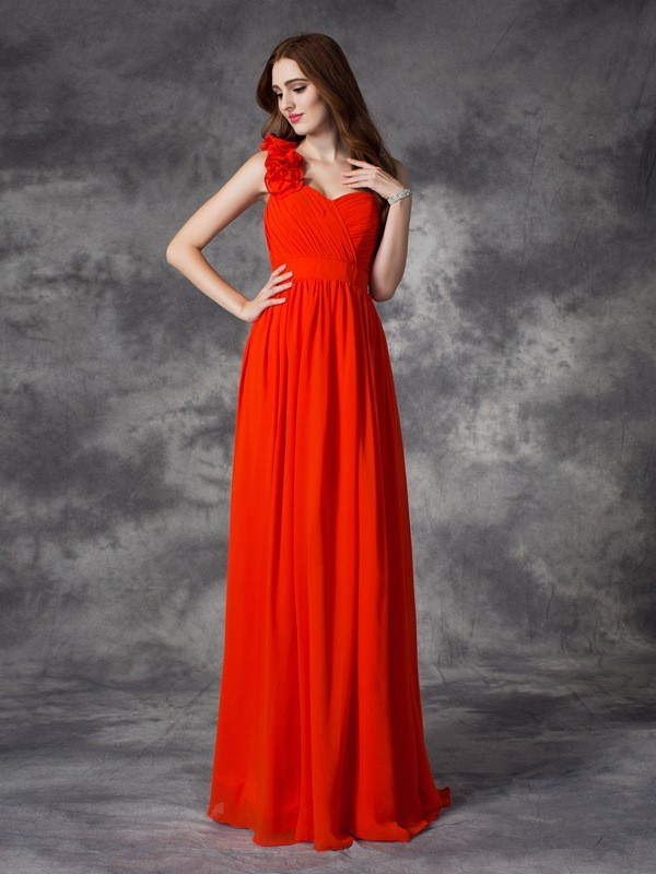 Nice A-Line One-Shoulder Sleeveless Long Chiffon Bridesmaid Dress