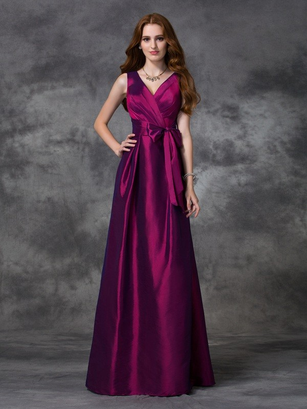 Nice A-Line V-neck Sleeveless Long Taffeta Bridesmaid Dress