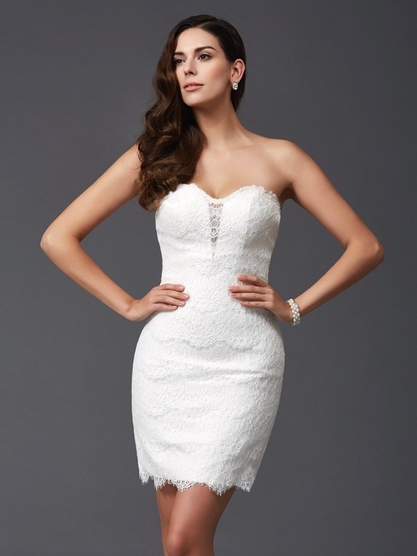 Amazing Sheath Sweetheart Lace Sleeveless Short Lace Dress