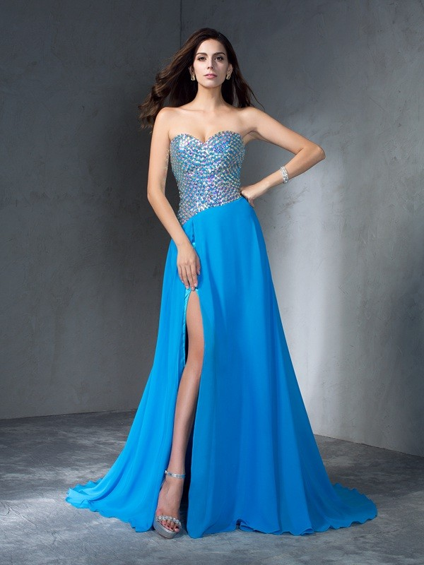 Amazing A-Line Sweetheart Sequin Sleeveless Long Chiffon Dress