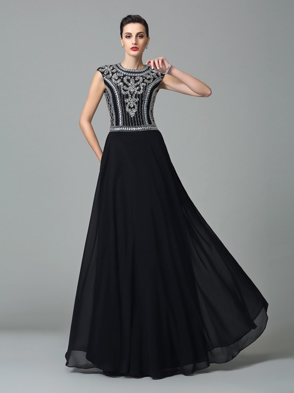 Glamorous A-Line Jewel Short Sleeves Long Chiffon Dress
