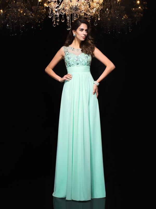 Glamorous A-Line Sheer Neck Sleeveless Long Chiffon Dress