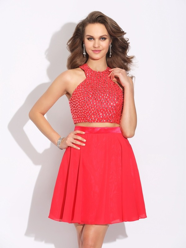 Glamorous A-Line Jewel Sleeveless Short Chiffon Two Piece Dress