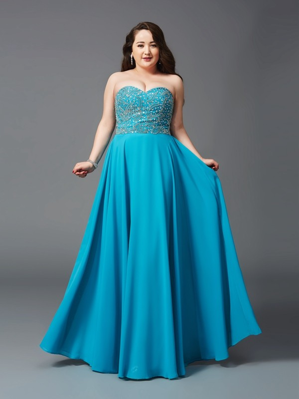 Glamorous A-Line Sweetheart Sleeveless Long Chiffon Plus Size Dress
