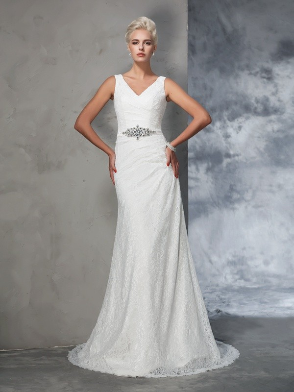 Glamorous Mermaid V-neck Lace Sleeveless Long Lace Wedding Dress