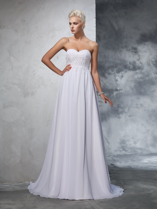 Glamorous A-Line Sweetheart Sleeveless Long Chiffon Wedding Dress