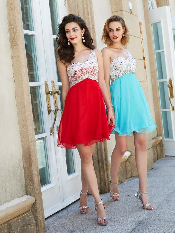 Beautiful A-Line Chiffon One-Shoulder Sleeveless Short/Mini Dress