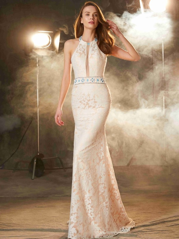Cheap Sheath Halter Sleeveless Floor-Length Lace Satin Dress