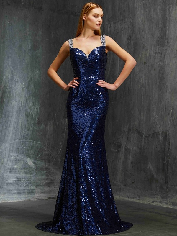 Beautiful Sheath V-neck Sleeveless Sweep/Brush Train Sequins Dress