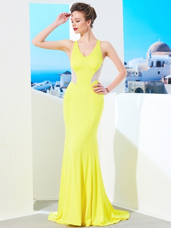 Affordable Mermaid V-neck Sleeveless Sweep/Brush Train Spandex Dress